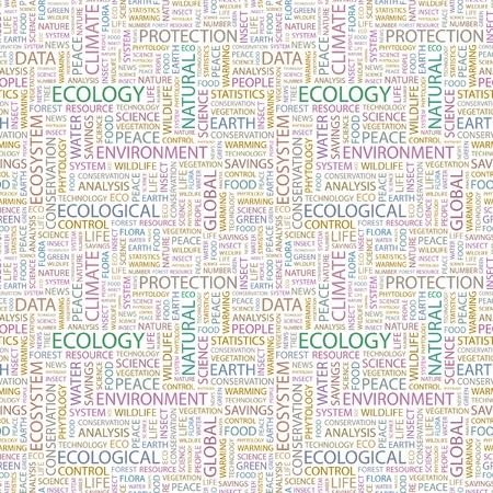 interakcje: EKOLOGIA. Wektor bez szwu deseń z programu word chmura. Ilustracja z stowarzyszenia różnych warunków.   Ilustracja