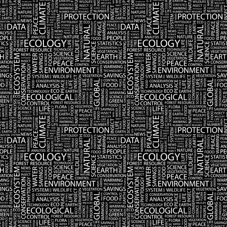 ECOLOGY. Seamless vector background. Wordcloud illustration. Illustration with different association terms.   Vector