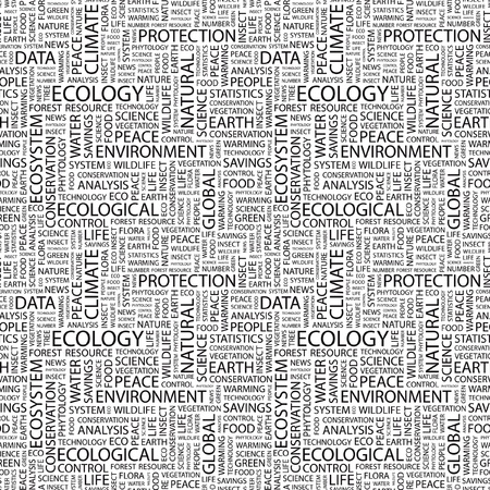 keywords backdrop: ECOLOGY. Seamless vector pattern with word cloud. Illustration with different association terms.
