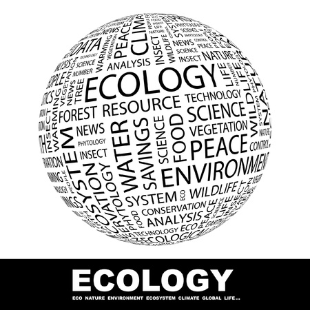 environmental analysis: ECOLOGY. Globe with different association terms. Wordcloud vector illustration.