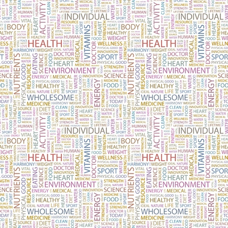 HEALTH. Seamless vector pattern with word cloud. Illustration with different association terms. Stock Vector - 9034042