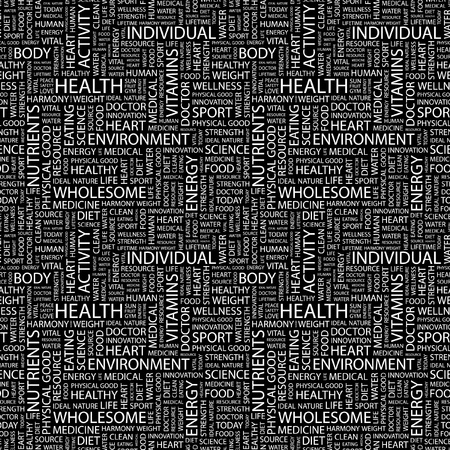 HEALTH. Seamless vector pattern with word cloud. Illustration with different association terms.   Vector