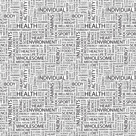 HEALTH. Seamless vector background. Wordcloud illustration. Illustration with different association terms.   Vector