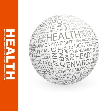 worldwide website: HEALTH. Globe with different association terms. Wordcloud vector illustration.