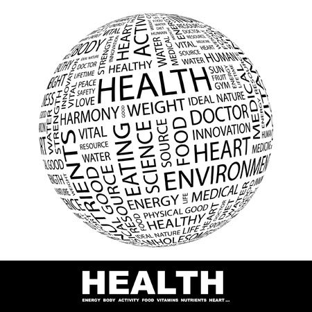 global health: HEALTH. Globe with different association terms. Wordcloud vector illustration.
