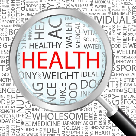 HEALTH. Magnifying glass over background with different association terms. Vector illustration. Stock Vector - 9033992