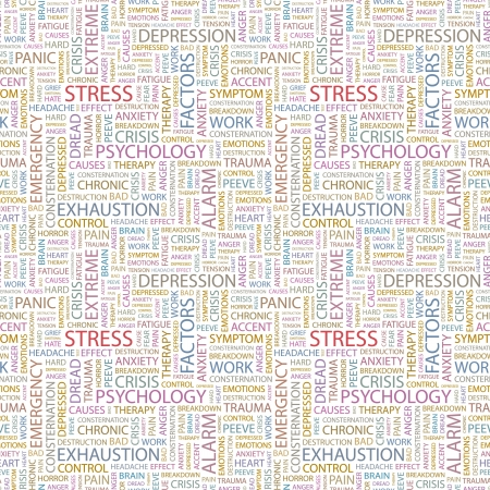 consternation: STRESS. Seamless vector pattern with word cloud. Illustration with different association terms.