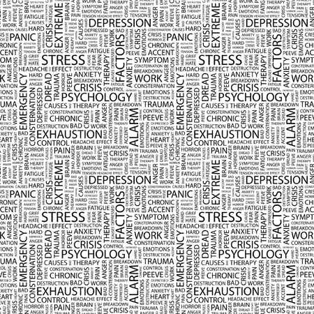 peeve: STRESS. Seamless vector pattern with word cloud. Illustration with different association terms.