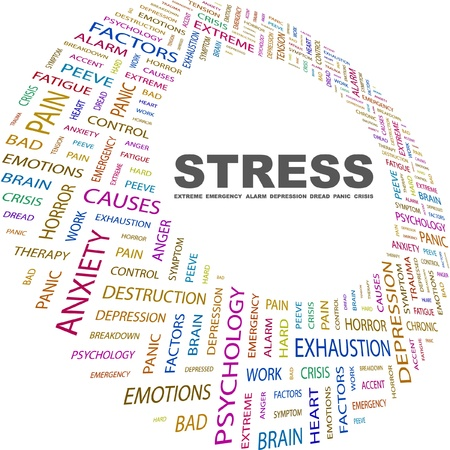 peeve: STRESS. Word collage on white background. Vector illustration. Illustration with different association terms.    Illustration