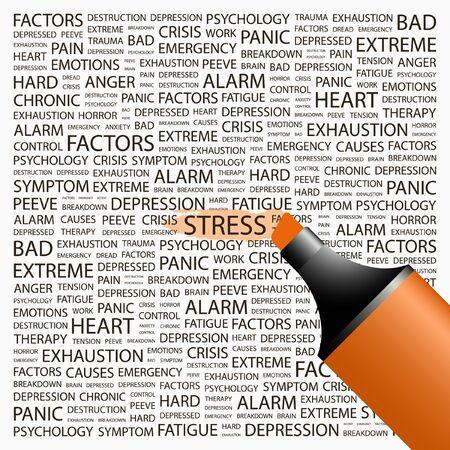 test results: STRESS. Evidenziatore su sfondo con associazione diversi termini. Illustrazione vettoriale.