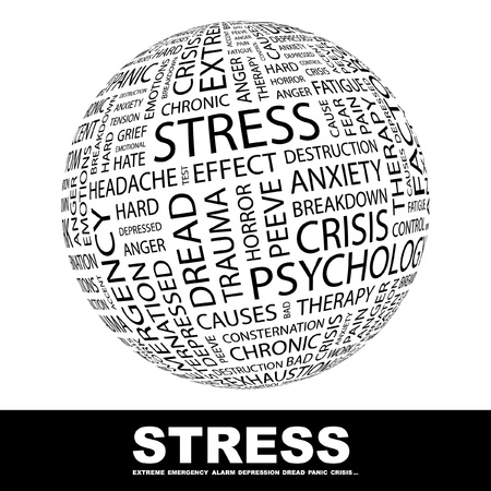 peeve: STRESS. Globe with different association terms. Wordcloud vector illustration.   Illustration