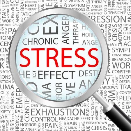 hormonen: STRESS. Vergrootglas op achtergrond met verschillende vereniging voorwaarden. Vectorillustratie.