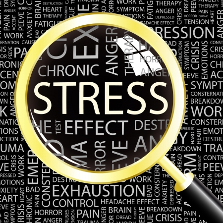 ストレス。異なる協会規約と背景上の虫眼鏡。ベクトル イラスト。