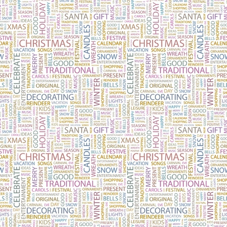 CHRISTMAS. Seamless vector pattern with word cloud. Illustration with different association terms. Stock Vector - 9129852