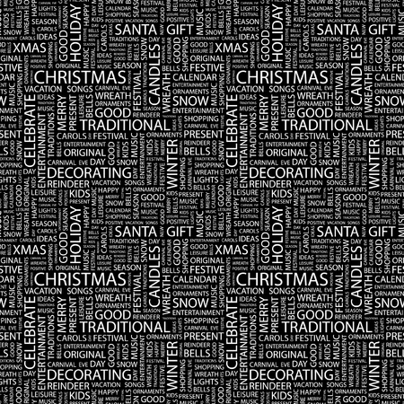 CHRISTMAS. Seamless vector pattern with word cloud. Illustration with different association terms.   Vector