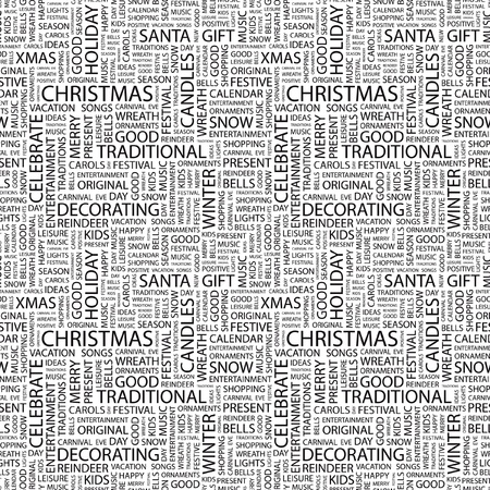 CHRISTMAS. Seamless vector background. Wordcloud illustration. Illustration with different association terms.   Vector