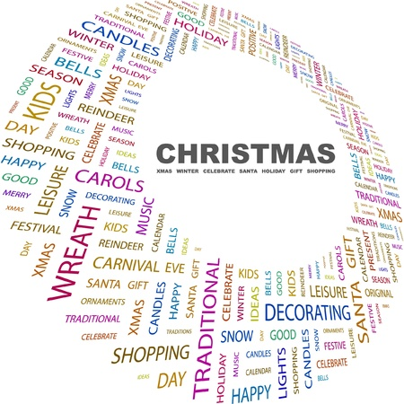 CHRISTMAS. Word collage on white background. Vector illustration. Illustration with different association terms.    Vector