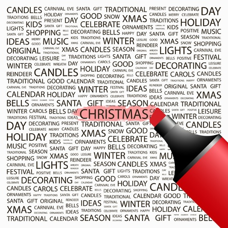 highlighter: CHRISTMAS. Highlighter over background with different association terms. Vector illustration.   Illustration