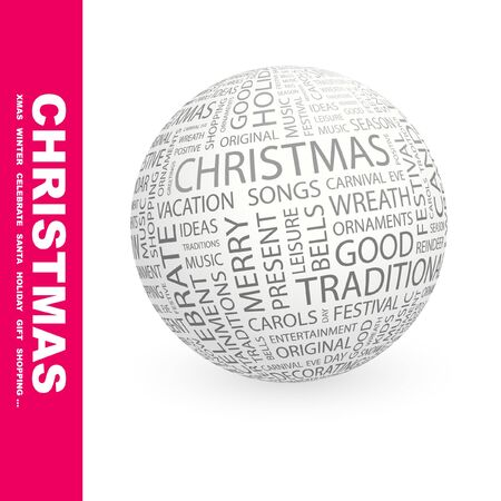 x mas party: CHRISTMAS. Globe with different association terms. Wordcloud vector illustration.   Illustration