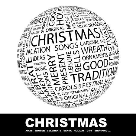 CHRISTMAS. Globe with different association terms. Wordcloud vector illustration.   Vector