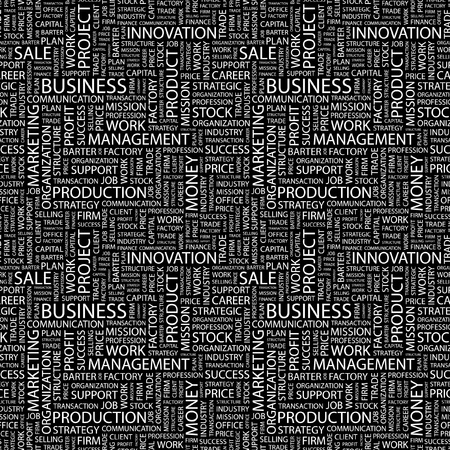 BUSINESS. Seamless vector background. Wordcloud illustration. Illustration with different association terms.   Vector