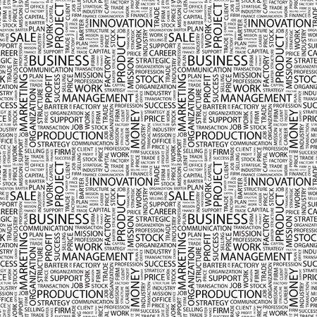 財源: ビジネス。単語の雲とのシームレスなベクター パターン。異なる協会規約のイラスト。  イラスト・ベクター素材