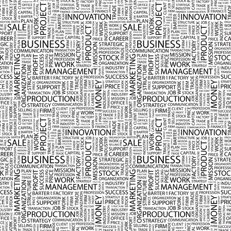 barter: BUSINESS. Seamless vector pattern with word cloud. Illustration with different association terms.