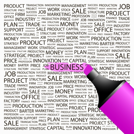 BUSINESS. Highlighter over background with different association terms. Vector illustration. Vector