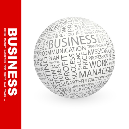 BUSINESS. Globe with different association terms. Wordcloud vector illustration. Stock Vector - 9034031