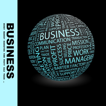 corporation: BUSINESS. Globe with different association terms. Wordcloud vector illustration.
