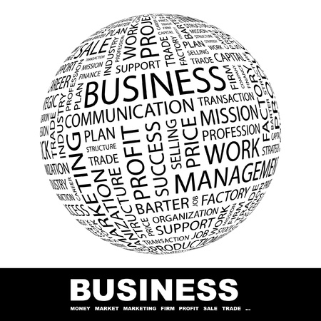 barter: BUSINESS. Globe with different association terms. Wordcloud vector illustration.