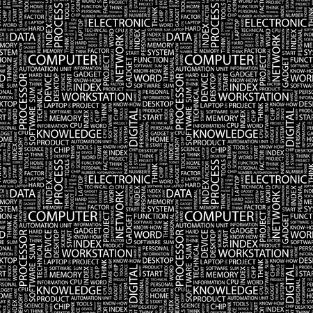 office automation: COMPUTER. Seamless vector pattern with word cloud. Illustration with different association terms.