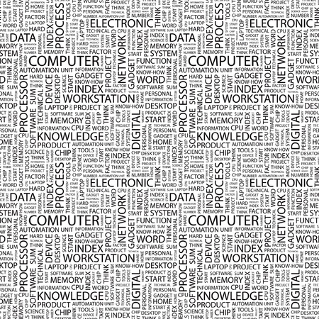 COMPUTER. Seamless vector pattern with word cloud. Illustration with different association terms.   Vector