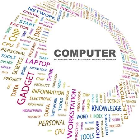 virtual space: COMPUTER. Collage di parola su sfondo bianco. Illustrazione vettoriale. Illustrazione con termini differenti associazione.