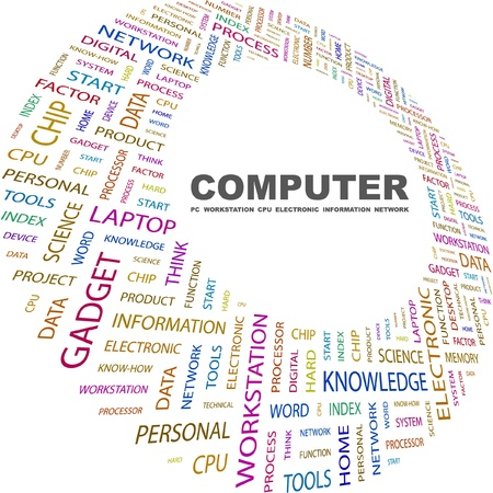 word processor: COMPUTER. Word collage on white background. Vector illustration. Illustration with different association terms.