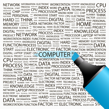 COMPUTER. Highlighter over background with different association terms. Vector illustration. Vector