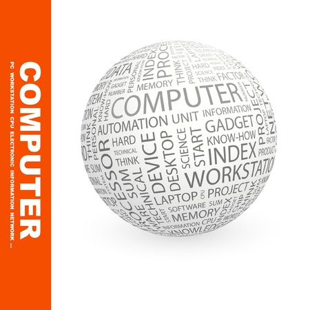 keywords backdrop: COMPUTER. Globe with different association terms. Wordcloud vector illustration.   Illustration