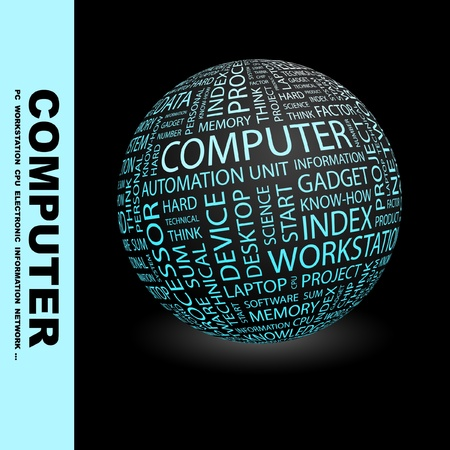 computer memory: COMPUTER. Globe with different association terms. Wordcloud vector illustration.   Illustration