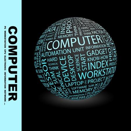 virtual space: COMPUTER. Globo con termini differenti associazione. Wordcloud illustrazione vettoriale.   Vettoriali