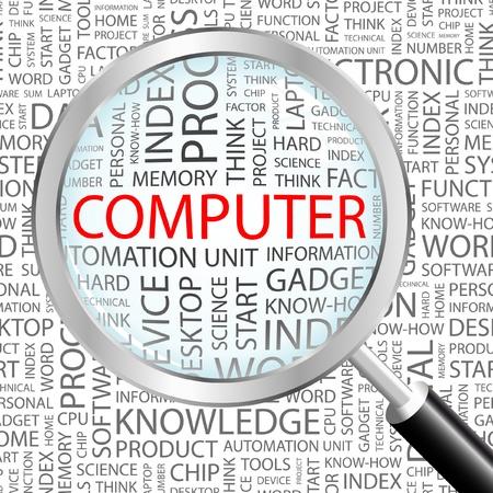 translucent: COMPUTER. Lente di ingrandimento su sfondo con termini differenti associazione. Illustrazione vettoriale.