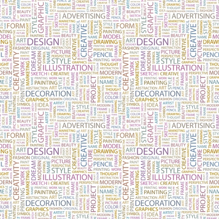 package printing: DESIGN. Seamless vector pattern with word cloud. Illustration with different association terms.   Illustration