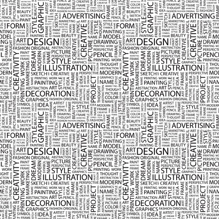 DESIGN. Seamless vector pattern with word cloud. Illustration with different association terms.   Vector