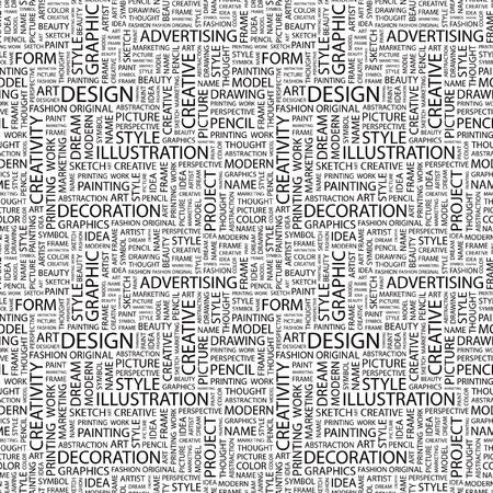 target thinking: DISE�O. Patr�n de vector transparente con nubes de palabra. Ilustraci�n con t�rminos de asociaci�n diferente.