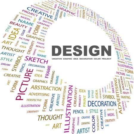DESIGN. Word-Collage auf weißem Hintergrund. Vektor-Illustration. Illustration mit verschiedenen Association Begriffen.   Lizenzfreie Bilder - 8840333