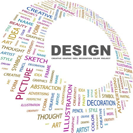 swatch book: DESIGN. Word collage on white background. Vector illustration. Illustration with different association terms.   Illustration