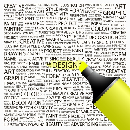 DESIGN. Highlighter over background with different association terms. Vector illustration.