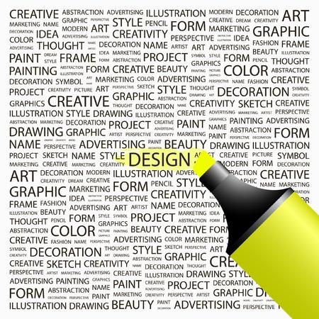 デザイン。蛍光ペンの異なる関連用語の背景の上。ベクトル イラスト。