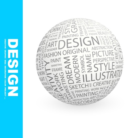 DESIGN. Globe with different association terms. Wordcloud vector illustration. Stock Vector - 8840389