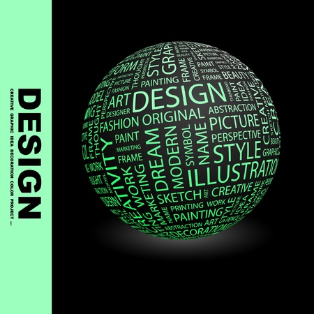 package printing: DESIGN. Globe with different association terms. Wordcloud vector illustration.