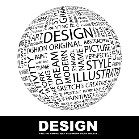 typography: DESIGN. Globe with different association terms. Wordcloud vector illustration.